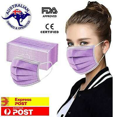 AU8.95 • Buy 5 X Purple Face Masks Disposable N95 Mask Filter Protective Mouth 3 Layer Dust