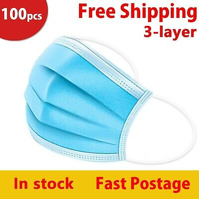 AU29.95 • Buy 100 X Blue Face Masks Disposable N95 Mask Filter Protective Mouth 3 Layer Dust