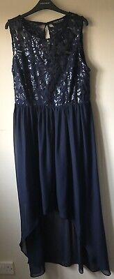 Ladies Occasion Dress Size 18 High Low Style Long Sleeveless Navy Embellished • 5£