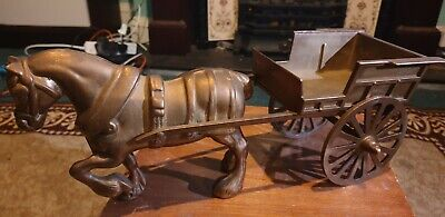 Large Vintage Brass Shire Horse And Cart • 19.90£