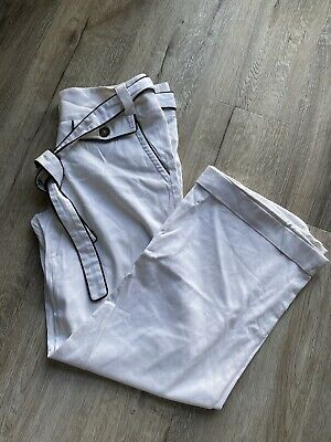 White Burberry Straight Leg Trousers With Belt Uk8 • 2.80£