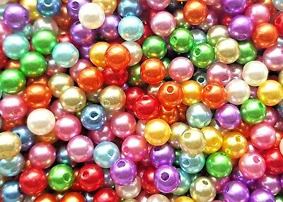 £1.20 • Buy ❤ Mixed Multi Round ACRYLIC PEARL 4mm - 10mm Jewellery Making Spacer Beads ❤