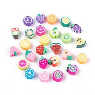 £3.25 • Buy Polymer Clay FRUIT Design BEADS Mixed Novelty Food Cute Kitsch 50pcs 1mm Hole
