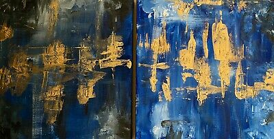 """Abstract Painting Diptych Piece """"A Light In The Sea"""" • 25£"""