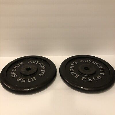 $ CDN119.77 • Buy 25 LB Sports Authority Standard Iron Weight Plates 1  Barbell Set 50 Lbs Total