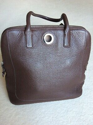 Lamarthe Brown Leather Fabric Lined Two Strap Bag • 16£