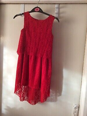 Girls Tu Red Lace High Low Party Dress Age 5yrs Vg Used Cond(6) • 6.99£