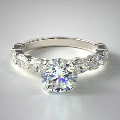 AU3209.75 • Buy Real 1.40 Ct Round Cut 950 Platinum Diamond Solitaire Engagement Ring Size 6 7 5