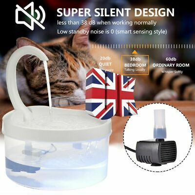 2L USB LED Automatic Electric Pet Water Fountain Cat/Dog Drinking Dispenser UK • 10.99£