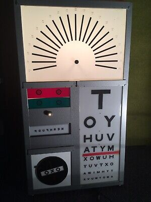Vintage Opticians Eye Test Light Box Wall Chart Apothecary Bar/Modern Lighting • 325£