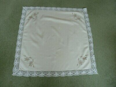 Vintage Lace Edged And Embroidered Tablecloth Perfect Condition • 7£