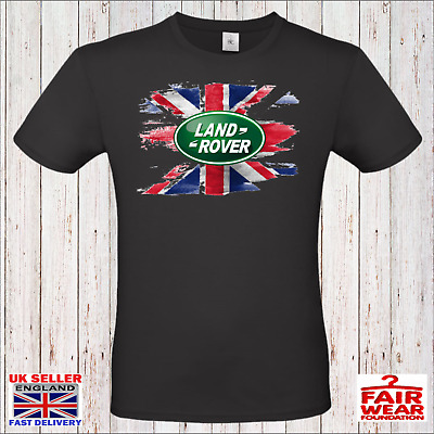 Land Rover Vintage Distressed Union Flag Logo Printed T Shirt 4x4 Offroad  • 9.99£