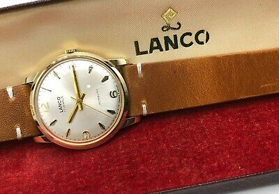 Vintage 9k 9ct Solid Gold Mens Lanco Swiss Watch (Serviced + Warranty) + Box • 315£
