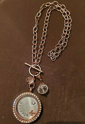$ CDN25.31 • Buy Origami Owl Locket Necklace Blessed Cross Rose Gold