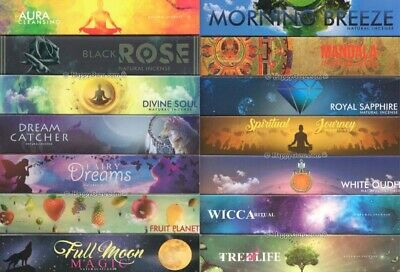 """AU3.50 • Buy New Moon  YOU CHOOSE"""" From """"35 Fragrances"""" Masala Incense Sticks 15g Packets"""