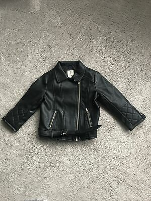 River Island Baby Girl Leather Style Jacket Size 12-18 Months Black • 10£