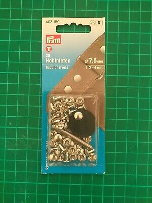 PRYM 20 HOLLOW RIVETS FOR MATERIAL THICKNESS FROM 3-4mm - Leather  - 403150 • 2.50£