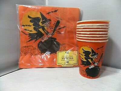 $ CDN37.91 • Buy Vintage Halloween Black Witch Napkins And Matching Paper Cups