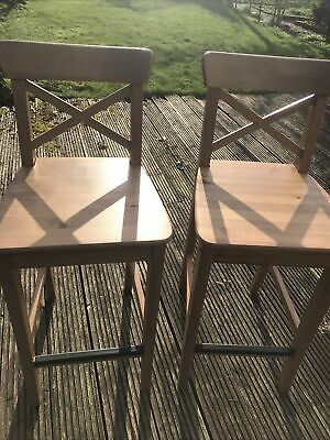 Ikea Ingolf Bar Stool Kitchen, 64cm To Seat, Wooden, Immaculate Condition • 50£