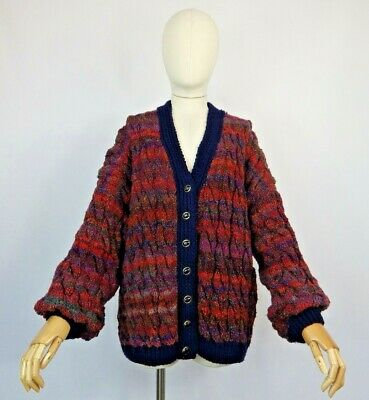 £54.99 • Buy Vintage Arty Multicoloured Ombre Chunky Cable Aran Hand Knit Cardigan Sweater 18