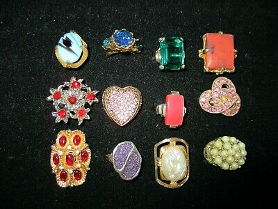 $ CDN15.16 • Buy Vintage Costume Jewelry Rings, All Adjustable, Lot Of 12