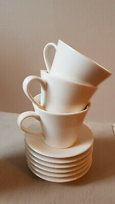 Tea Cups And Saucers Set Of 6 (six), Luzerne Cream Off White, New Bone China • 0.99£