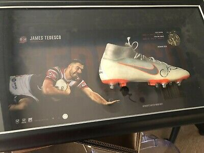 AU1550 • Buy NRL Sydney Roosters James Tedesco  Match Worn Boot Signed