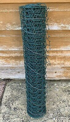 "Small Roll Of Green Plastic Coated Chicken Wire Fencing Mesh Netting 51cm 20"" • 2.99£"