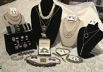 $ CDN39.99 • Buy RHINESTONE & CRYSTAL Costume Vintage Jewelry Lot Continental Set Rings Bracelet