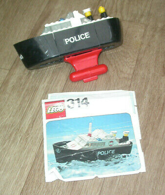 VINTAGE LEGO POLICE BOAT & FIGURES SET 314 WITH MANUAL FROM 1976 Boys Toys • 10£
