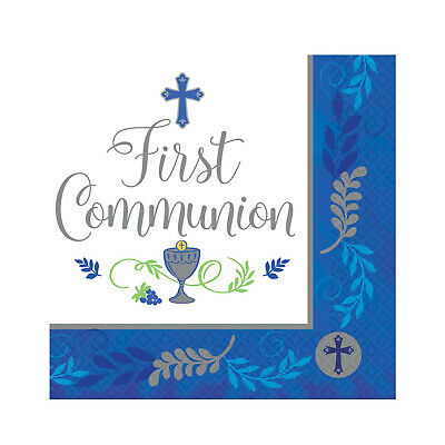 1st HOLY COMMUNION First BLUE/BOY Party Tableware Supplies Decorations {Amscan} • 2.99£