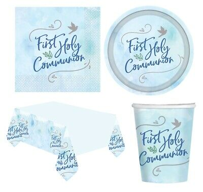 1st HOLY COMMUNION First BLUE/BOY Party Tableware Supplies Decorations (2021) • 2.95£