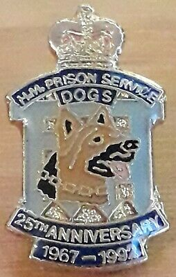 Hm Prison Service Dog Section 25th Anniversary Pin Badge Hmp Dog Units 1967-1992 • 10£