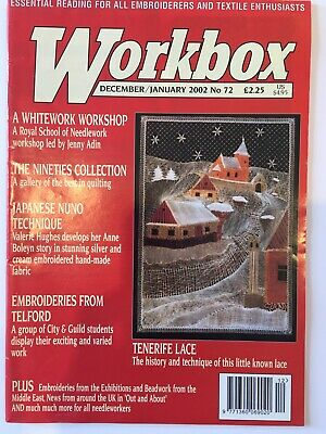 Workbox Magazine Dec 2001 January 2002 72 Textile Quilting Embroidery Lace Craft • 4.25£