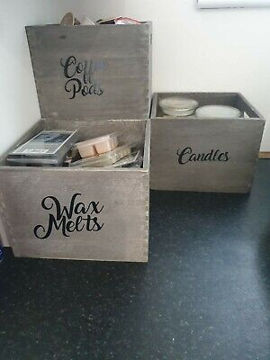 Personalised Grey Wooden Storage Box Crate  • 8£