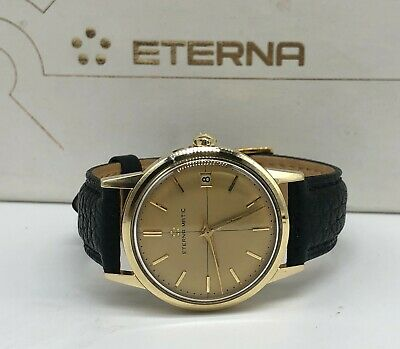 Vintage 14k 14ct Solid Gold Eterna Matic Mens Automatic Watch + Box (9ct 18ct) • 875£