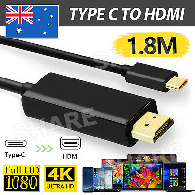 AU9.95 • Buy USB C To HDMI Cable USB 3.1 Type C Male To HDMI UHD 4K 1.8m Cable For Macbook