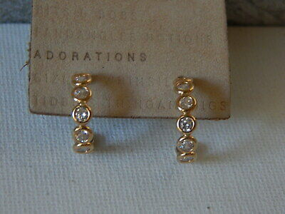$ CDN37.24 • Buy Earrings Delicate Anthropologie Clear Rhinestone Small Circle Gold Trend $48 Tag