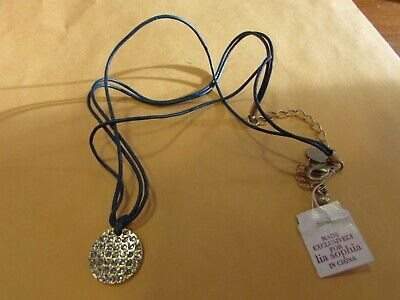 $ CDN12.67 • Buy NEW W/tags Un-worn Lia Sophia 15-18  Long CRYSTAL PAVE Blue Cord Necklace