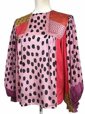 $ CDN56.79 • Buy Anthropologie Top Blank London Pink Red Dot Mixed Print Eclectic Peasant Size XS