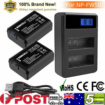 AU28.99 • Buy 2X 1500mAh NP-FW50 Battery +LCD DUAL Charger For Sony Alpha A3000 A5000 A6000 GL