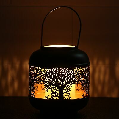 £13.95 • Buy 22cm Small Tree Of Life Black Votive Candle Holder Lantern Laser Cut Out Design