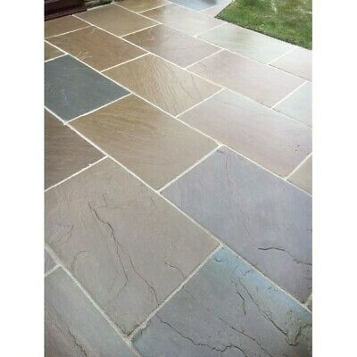 £299 • Buy Raj Green Indian Sandstone Paving Patio Slabs 22MM Calibrated Hand Cut 600X900MM