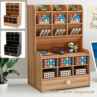 AU29.39 • Buy Office Desk Wooden Organizer Brush Storage Container Pen Pencil Holder 📦 GIFTS