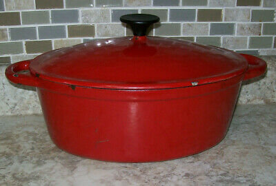 $ CDN63.44 • Buy  Vintage Red/White  Oval Dutch Oven 5 QUART CAST IRON ENAMELWARE