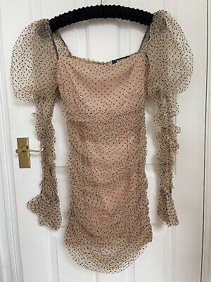 Missguided Cream Polka Dot Organza Puff Long Sleeved Mini Dress, In Size 6 • 25£