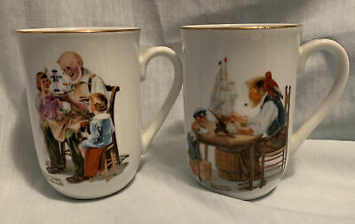 "$ CDN20.19 • Buy Vintage 1982 Norman Rockwell Museum ""The Toy Maker"" & ""For A Good Boy"" Mugs"
