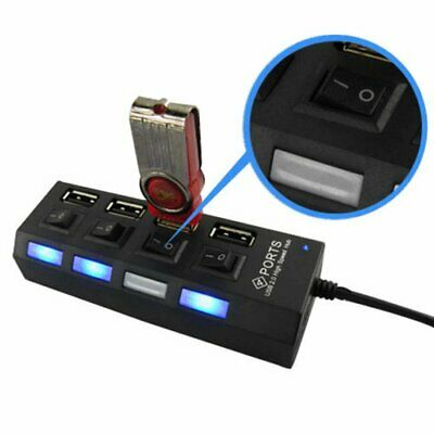 AU10.88 • Buy High Speed 4 Port USB 2.0 External Multi Expansion Hub With ON / OFF Switch