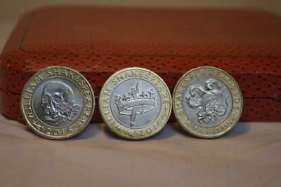 Set Of 3 X William Shakespeare 2 Pound Coins - 2016 ALL In VGC • 10£