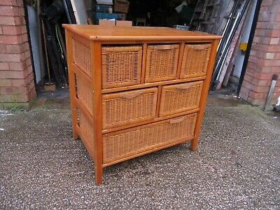 Large Pine Storage Unit With Six Wicker Basket Drawers • 54.99£